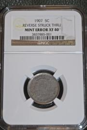 1907 Reverse Struck Thru  Liberty Nickel